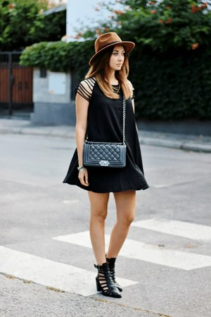 H&M hat - asos boots - Sheinside dress