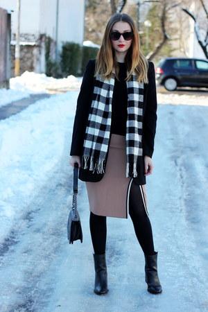 Zara skirt - ankle boots asos shoes - New Yorker coat - Zara sweater
