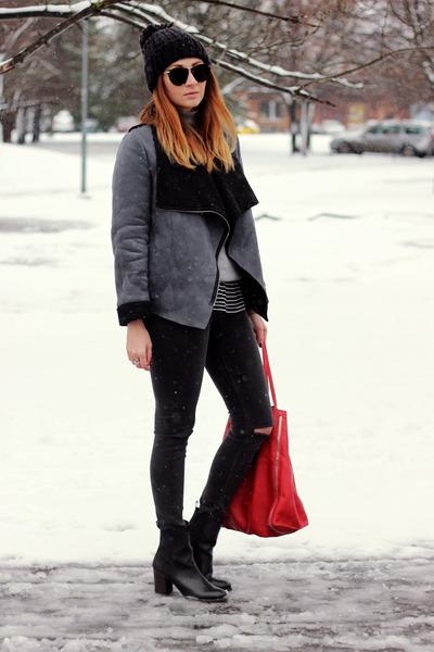 Sheinside jacket - H&M jeans - Zara sweater - Mango bag