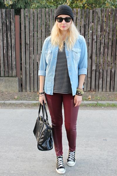 asos top - no brand DIY shoes - H&M leggings - denim Zara shirt - Ebay bag