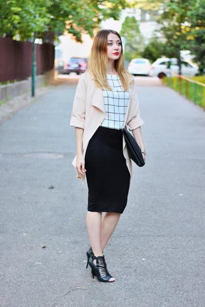 plaid PERSUNMALL top - Sheinside coat - Stradivarius skirt