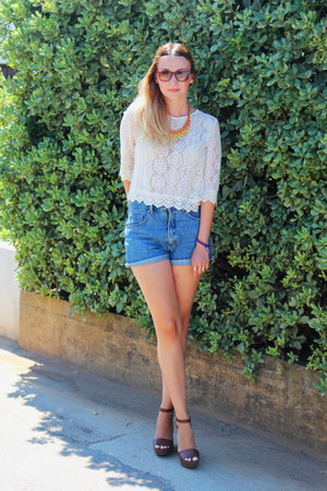 lace H&M top - wedges Stradivarius shoes - vintage shorts