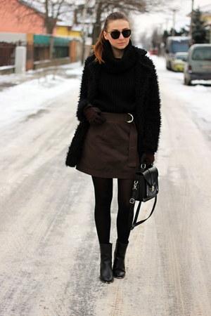 asos shoes - DressLink coat - OASAP sweater - New Yorker bag - Yoins skirt