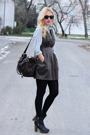 newlookcom boots - Forever21 dress - H&M shirt - asos bag