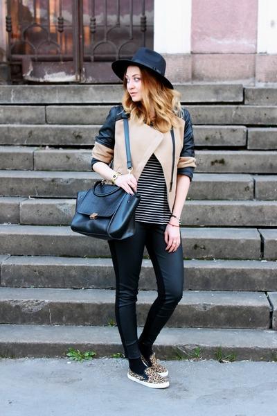 slip on asos shoes - Oasapcom hat - asos leggings - Oasapcom bag