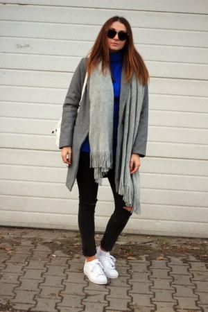 shein coat - DressLink sweater - H&M scarf - Adidas sneakers