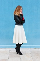 midi vintage skirt - H&M boots - faux leather H&M jacket - tartan H&M scarf