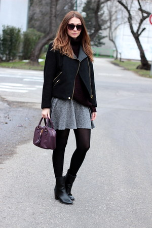 Primark bag - ankle boots asos shoes - Zara jacket - Zara sweater - Zara skirt