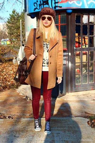 F&F coat - H&M leggings - asos bag - H&M sweatshirt