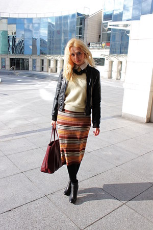knitted vintage skirt - ankle Zara boots - H&M jacket - vintage sweater