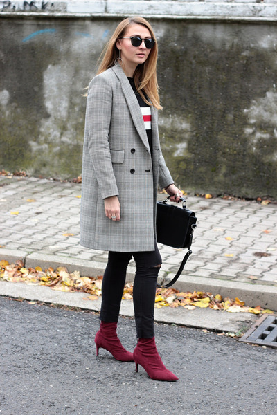 Zara coat - zaful shoes - H&M jeans - sammydress sweater