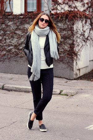 H&M scarf - asos shoes - reserved jacket - H&M pants