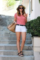 espadrille Gate sandals - Primark hat - Mango bag - F&F shorts - Gate top