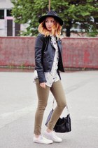 faux leather reserved jacket - H&M jeans - Oasapcom hat - Oasapcom shirt