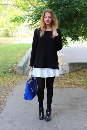 Zara bag - Topshop boots - thrifted vintage sweater - frontrowshopcom skirt