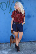vintage blouse - c&a bag - vintage shorts - new look wedges
