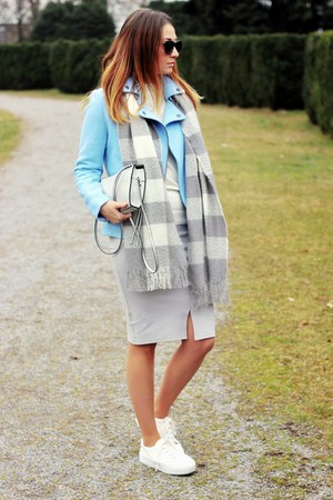 Promod jacket - sneakers asos shoes - asos scarf - Promod skirt