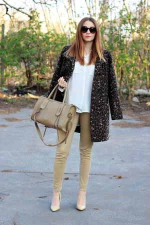 F&F coat - H&M jeans - no brand bag - Mango heels - H&M blouse