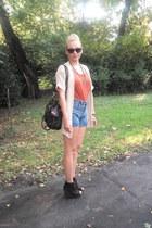 newlookcom wedges - asos bag - vintage shorts - Primark cardigan - H&M top