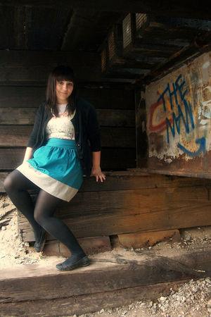 blue Tulle skirt - black Old Navy sweater - white Forever 21 t-shirt