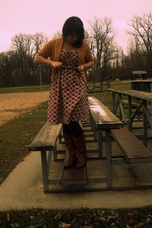 burnt orange Forever 21 dress - brown Goodwill boots - mustard Forever 21 sweate