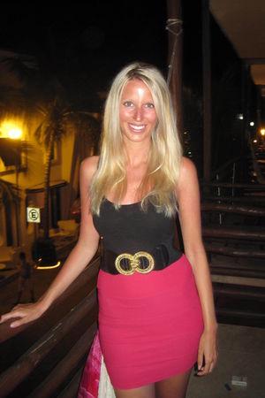 pink Topshop skirt - black H&M top
