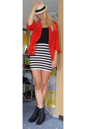 red acne jacket - white H&M skirt - black H&M vest - black
