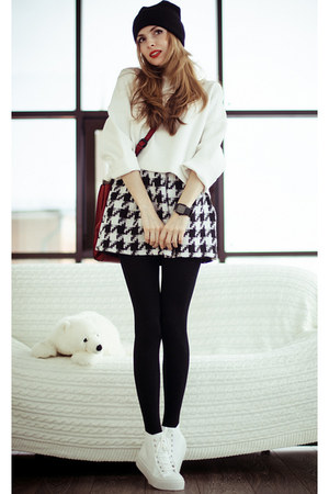 black Sheinside skirt - white Zara sweater
