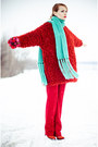 Brick-red-ecugo-dress-aquamarine-h-m-scarf