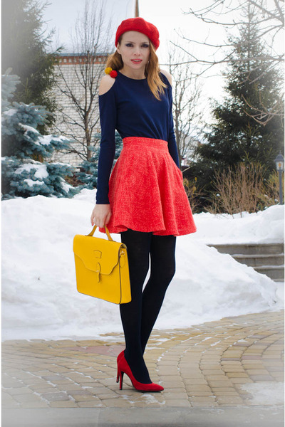 red Marika skirt - yellow Miss Nabi bag