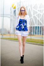 blue Kristines Collection top - white HM blazer - white Marika shorts