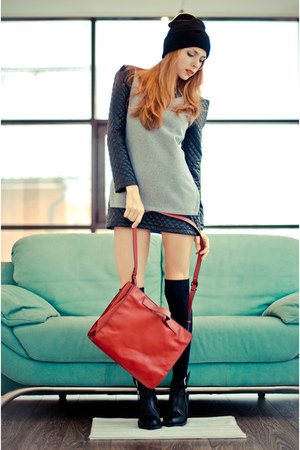 black romwe dress - black Zara boots - brick red Zara bag