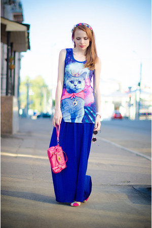 blue wwwbanggoodcom t-shirt - hot pink Miss Nabi bag