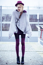 silver MICHAEL LAUREN sweater - maroon Fiore tights - black Chanel bag