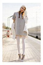 silver Frontrowshop dress - white BeFree jacket - silver chicnova bag