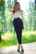 black Choies heels - black Bershka pants - eggshell my design top