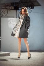 peach Maje dress - charcoal gray AC coat - beige asos bag