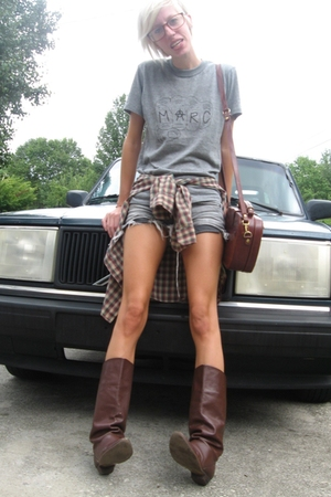 Marc by Marc Jacobs t-shirt - citzens of humanity shorts - thrifted boots - thri