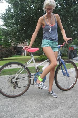 American Apparel t-shirt - American Apparel bra - Cut offs shorts - thrifted sho