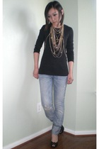 Old Navy t-shirt - a&f jeans - Steve Madden shoes - DIY necklace