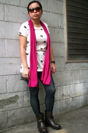 hot pink pink sm dept scarf - dark brown biker boots Forever 21 boots