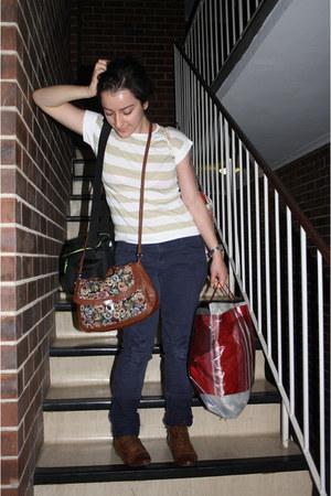 brown Valley Girl bag - navy skiny jeans supre jeans - beige stripes vintage top