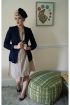 dark brown estate sale hat - beige handmade dress - black J Crew blazer