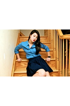 blue Forever 21 blouse - blue Gap skirt - casio accessories