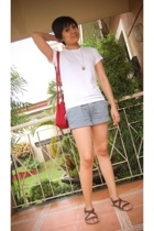 shirt - striped shorts - Nine West purse - Charles & Keith shoes - holga pendant