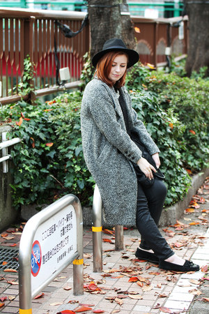 ENVYM coat - Zara jeans - EMODA hat - Forever21 blouse - Zara necklace
