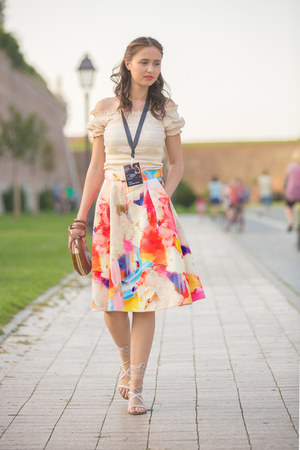 H&M skirt - vintage bag - Mango sandals