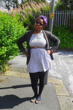 chiffon thrifted vintage scarf - bay dress - Newlook blazer