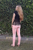 coral polka dots Stradivarius jeans