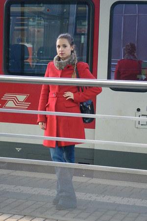 Promod coat - Mango jeans - Promod scarf